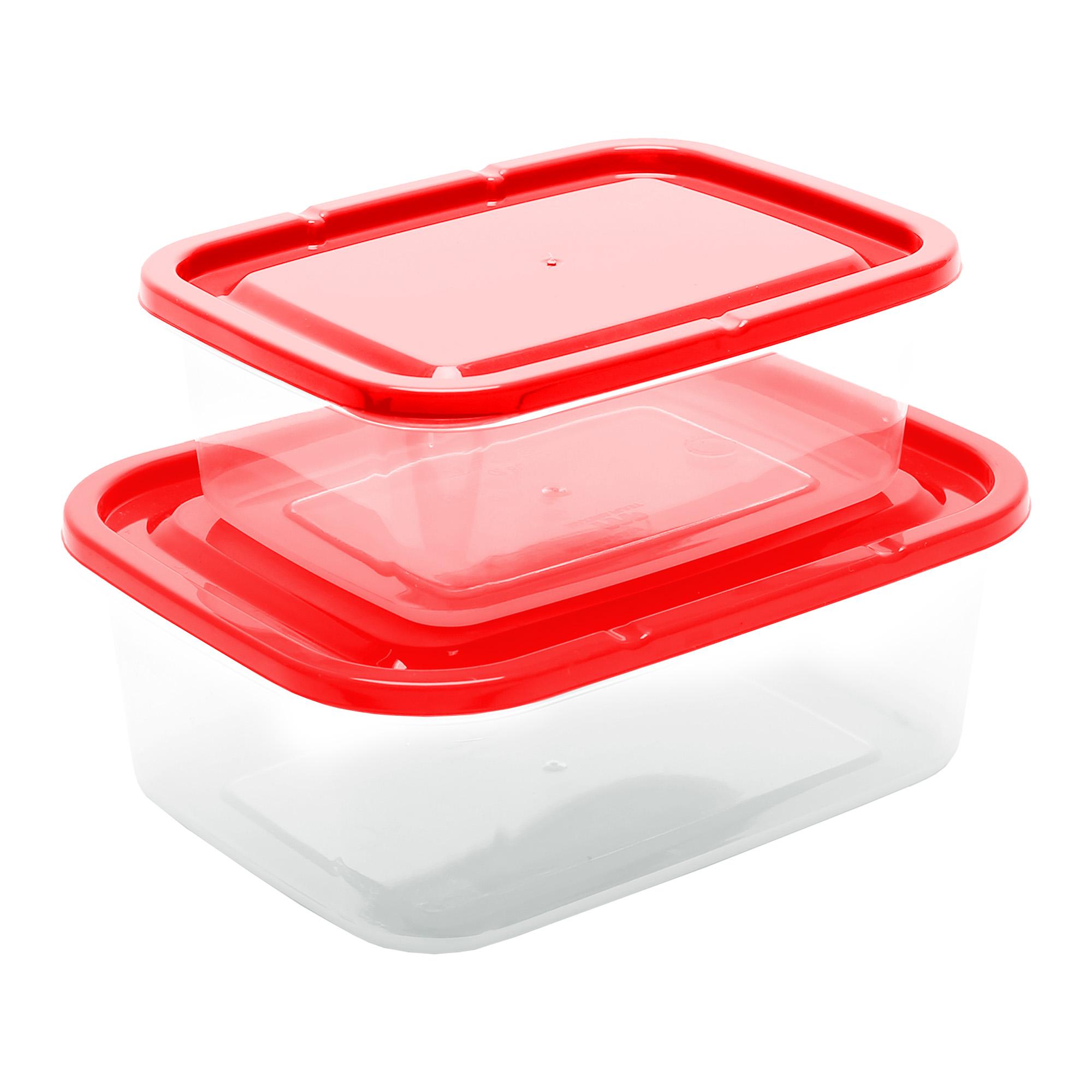 Conj 2 Potes Retangulares - Vermelho