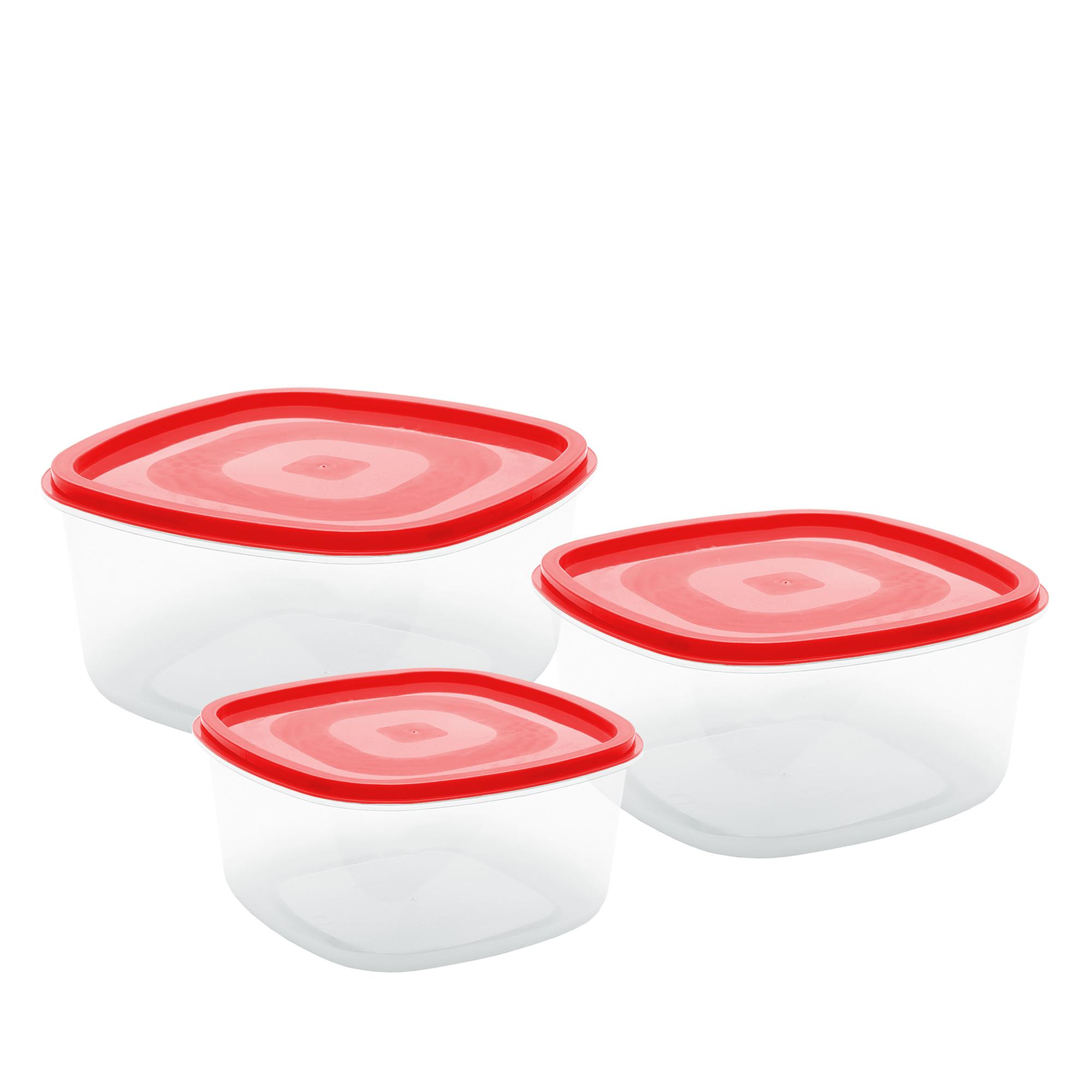 Conj 3 Potes Quadrados G - Vermelho