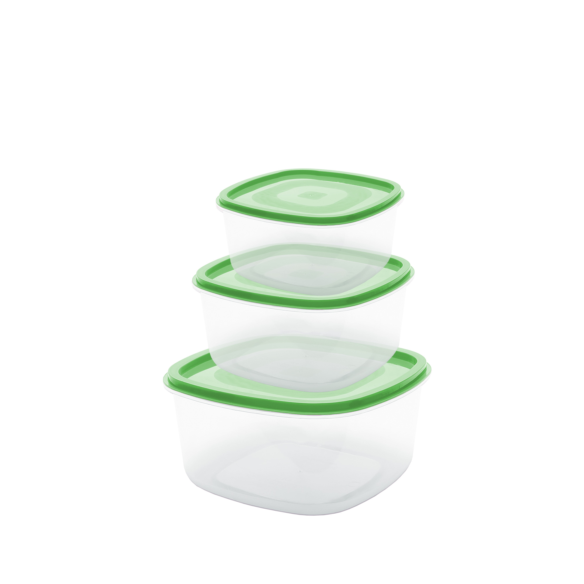 Conj 3 Potes Quadrados P - Verde