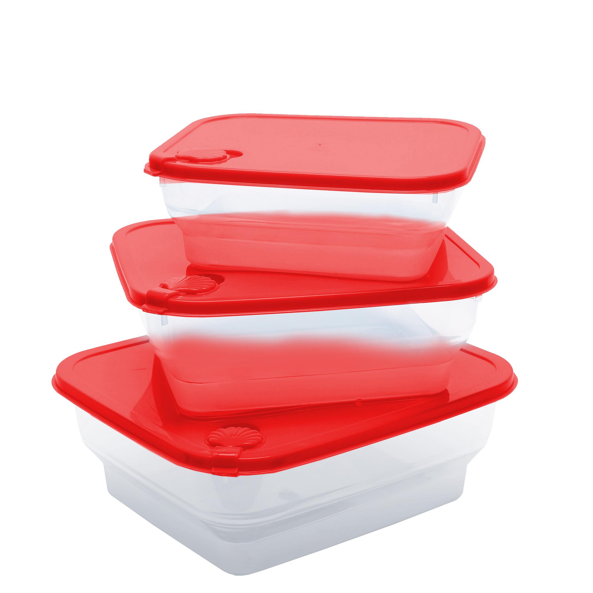 Conj 3 Potes Conchas Quadrados Pmg - Vermelho