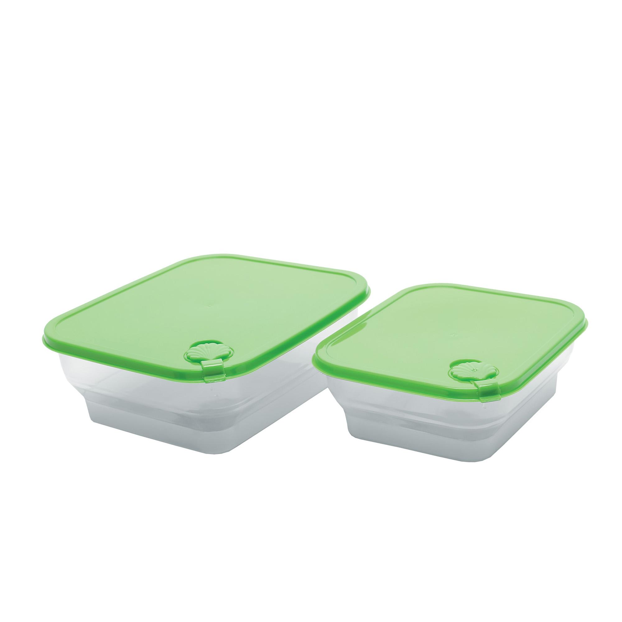 Conj 2 Potes Conchas Quadrados P-m - Verde