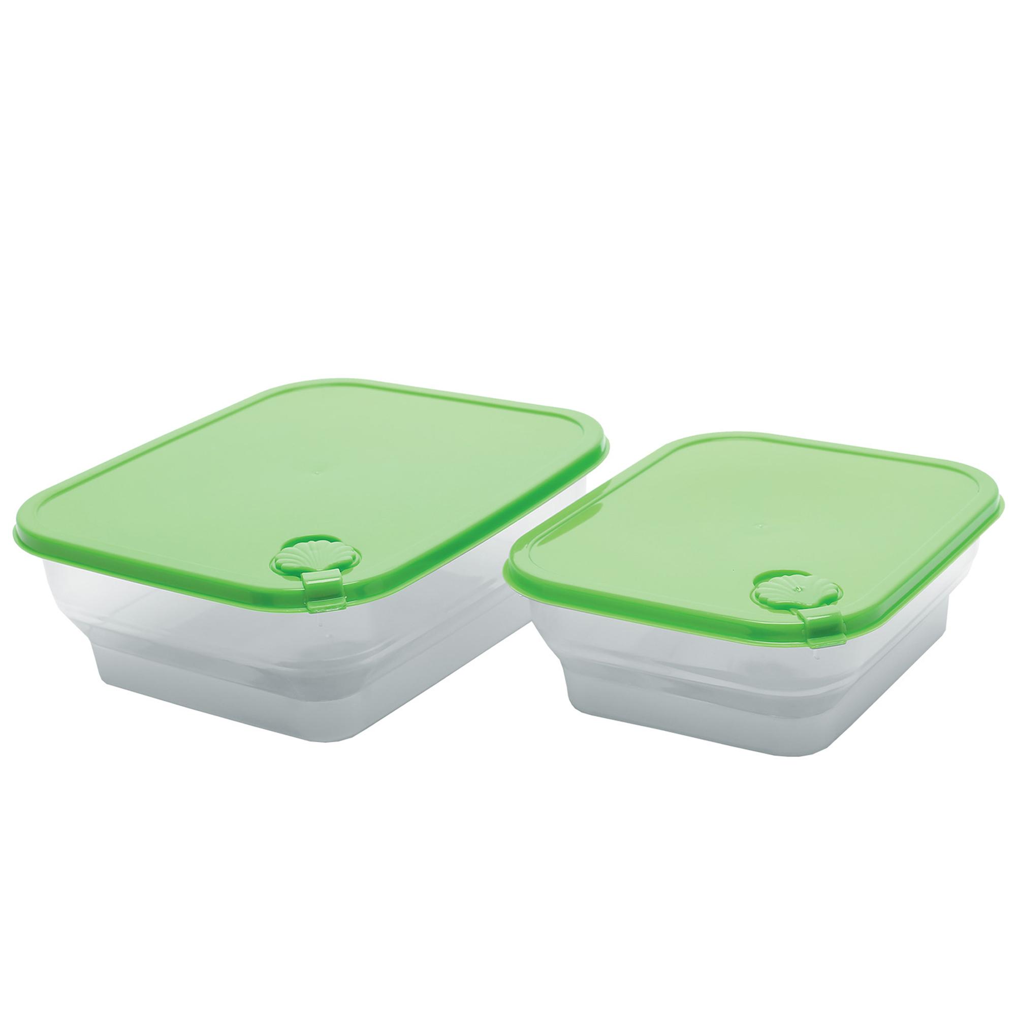 Conj 2 Potes Conchas Quadrados M-g - Verde