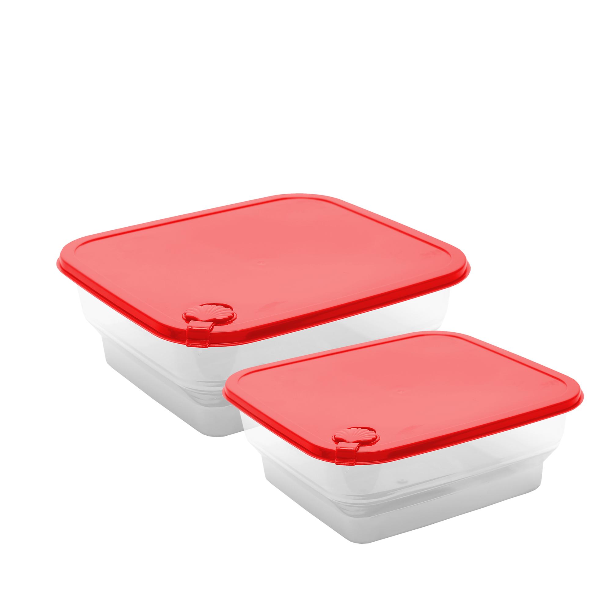Conj 2 Potes Conchas Quadrados M-g - Vermelho