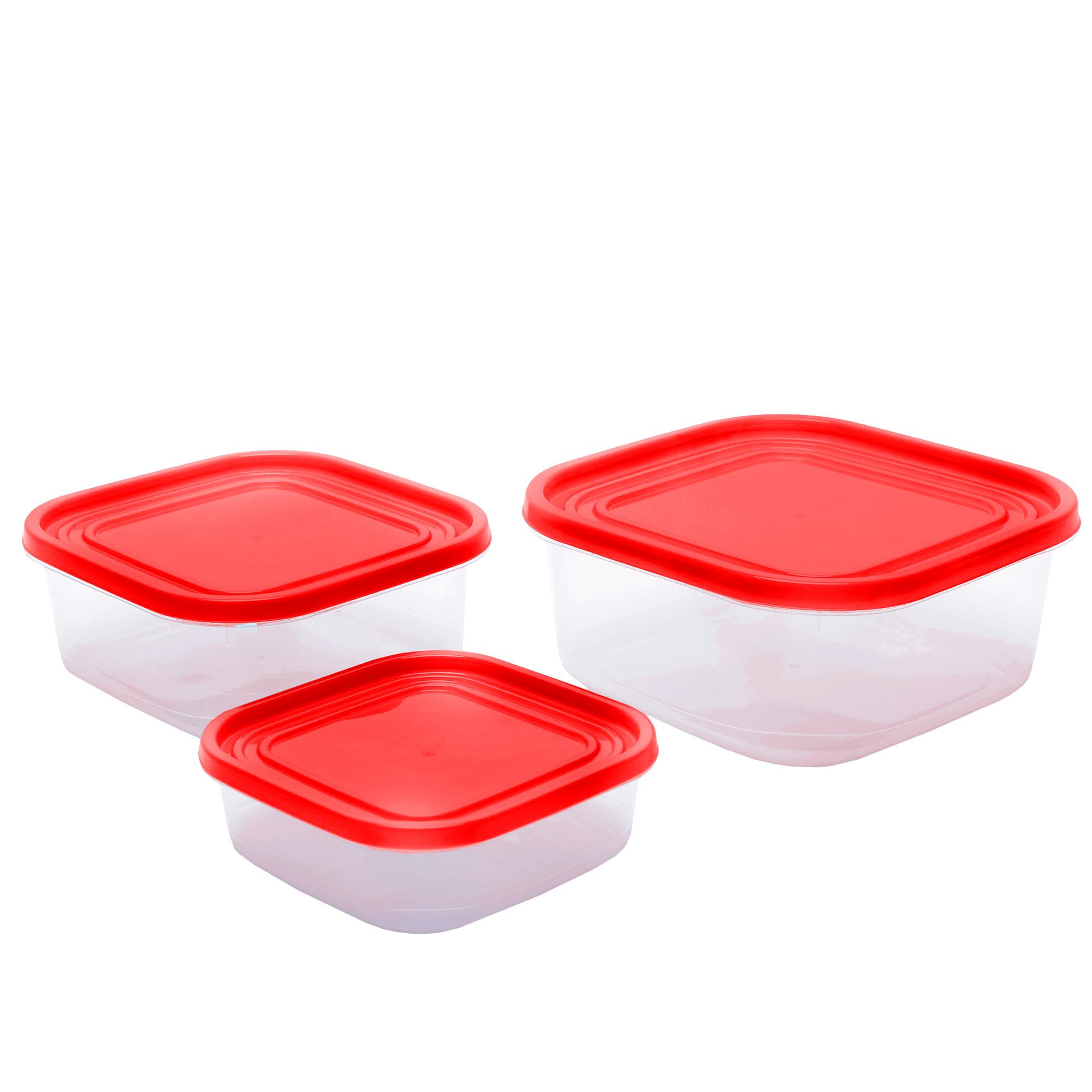 Conj 3 Potes Jateados Quadrados - Vermelho